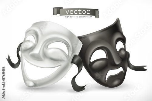 Fotografie, Tablou  Black and white theatrical masks