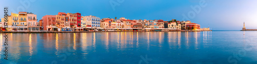 Vászonkép Picturesque panoramic view of old harbour with Lighthouse of Chania at sunrise,