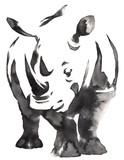black and white monochrome painting with water and ink draw rhino illustration - 137661899