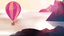 Hot Air Balloon Near Mountain Tops With Clouds - Vector Illustration.