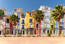 Colorful Homes In Mediterranean Village Of Villajoyosa