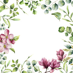 Fototapeta Style Watercolor floral frame with herbs and flowers. Hand painted plant card with eucalyptus, fern, spring greenery branches, cherry blossom and magnolia isolated on white background.