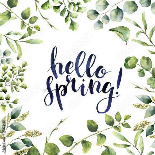 Akwarela Witaj wiosna. Ręcznie malowane kwiatowy karty z gałęzi eukaliptusa, paproci i wiosną zieleni na białym tle. Drukowanie dla projektu lub tła.