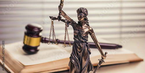 law theme, Justice Statue and Wooden gavel Wallpaper Mural