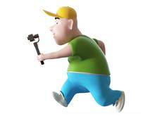Running Fat Boy Holding Action...