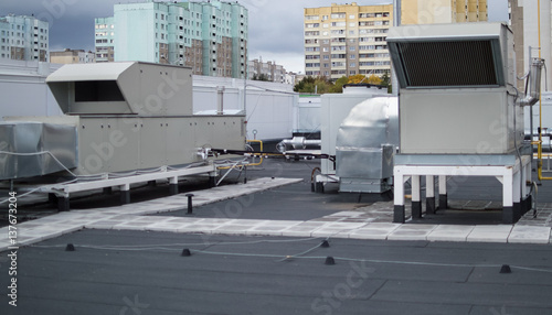 Photo Air Handling Units (rooftops) for the central ventilation system