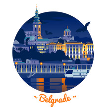 Night Belgrade Flat Vector Illustration In Circle