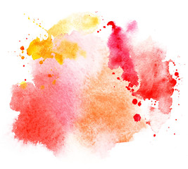 bright red stain splash watercolor paint. grunge illustration