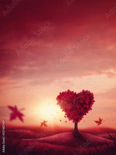 Poster Lichtroze Heart love tree
