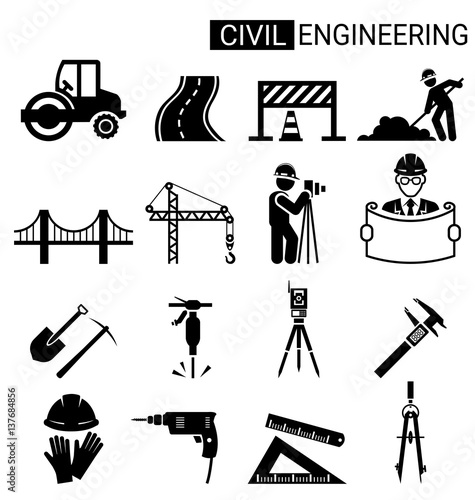 Valokuva Set of civil engineering icon design for infrastructure construction