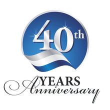Anniversary 40 Th Years Celebrating Logo Silver White Blue Ribbon Background
