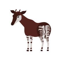 Okapi Cartoon Isolated On White Background
