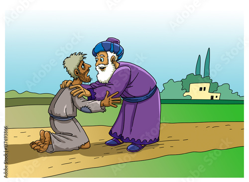 parable of the prodigal son buy this stock illustration and rh stock adobe com Prodigal Son Cartoon prodigal son black and white clipart