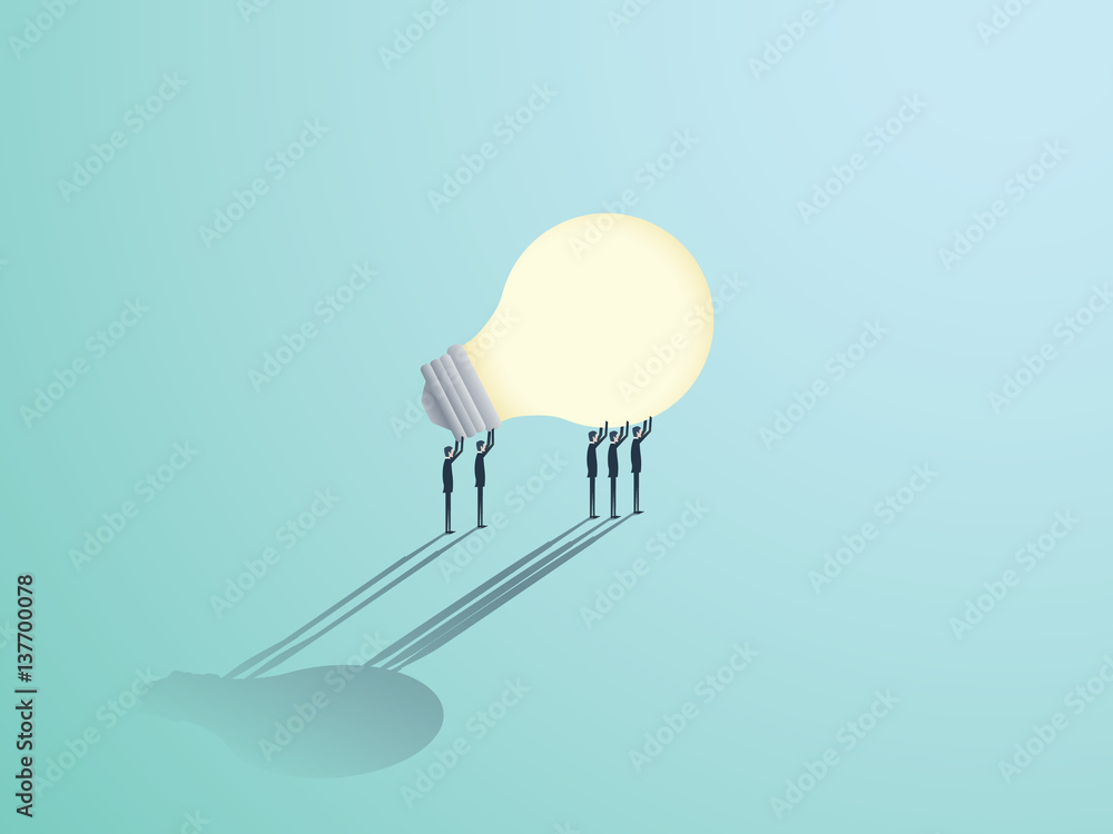 Fototapety, obrazy: Group of businessmen carrying a lightbulb. Vector symbol of business creativity, innovation and brainstorming.