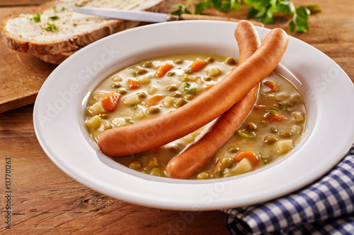 Creamy Soup with Wiener Sausage Served with Bread