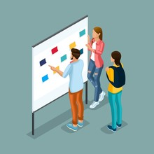 Trendy Isometric Illustration. Creative People At The Blackboard With Leaflets, Discussions, Debates, Brainstorming, Planning Work In Co Working Office. Freelancers
