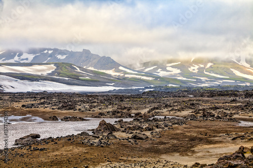Poster Taupe Nature of Kamchatka. Landscapes and magnificent views of the Kamchatka Peninsula