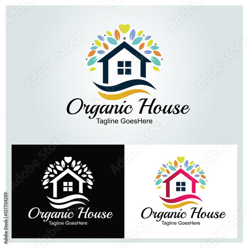 Organic House Logo Design Template Home Care Vector Ilration