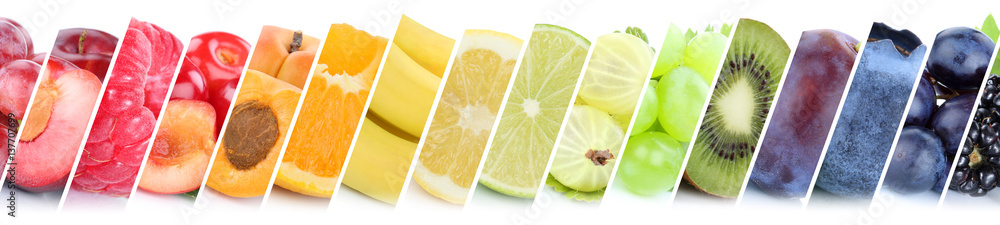 Fototapety, obrazy: Früchte Frucht Obst Gruppe Sammlung Orange Beeren Bananen