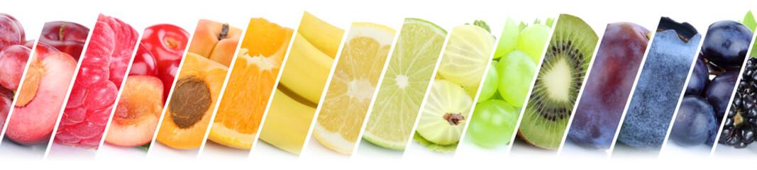 Obraz na płótnie Canvas Früchte Frucht Obst Gruppe Sammlung Orange Beeren Bananen
