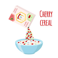 Cereal Rings, Cherry With Bowl. Organic Oatmeal Breakfast With Milk