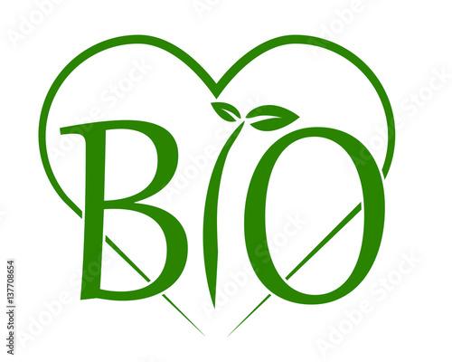 Fotografiet  scritta bio verde con cuore vettoriale