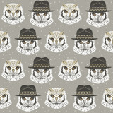 Seamless pattern with owl in a knitted hat. Cute vector background with funny birds. - 137709432