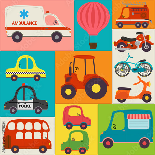 Cotton fabric seamless pattern with fun transports - vector illustration, eps