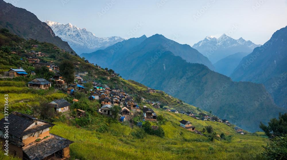 Fototapety, obrazy: Panoramiv view of Muri, nepali traditional village, in Annapurna region, Himalaya. Dhaulagiri circuit trek, Nepal.