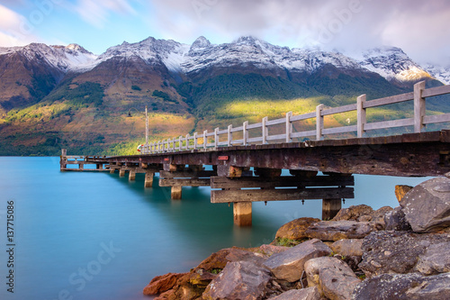 Garden Poster New Zealand Landscape view of Glenorchy wharf pier, New Zealand