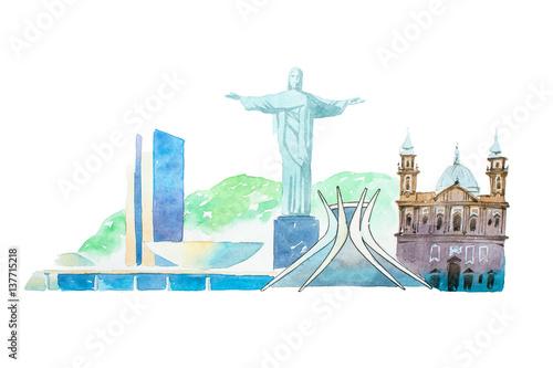 Photo Famous Brazil landmarks travel and tourism waercolor illustration