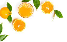 Orange Juice In Glass And Fruits.