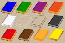 Book Vector Illustration - Set, Books Of Different Colors,
