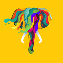 Vector Elephant In Paper Cut Style. Abstract Geometric Elephant With Splashes Of Color.