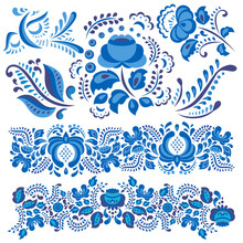 Vector Illustration With Gzhel Floral Motif In Traditional Russian Style Isolated On White And Ornate Flowers And Leaves In Blue And White.