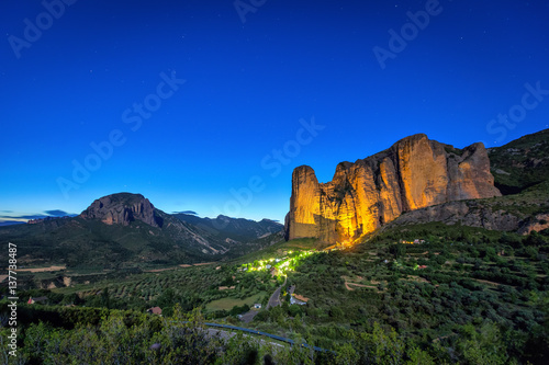 Mallos De Riglos rocks at night, Huesca province, Aragon, Spain