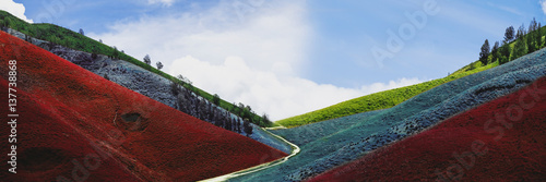 Garden Poster Brown Panoramic colorful hills with river