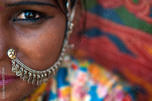 rajasthani woman super close up photo Canvas Print