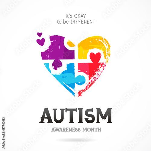 Autism Awareness Month. Puzzle Canvas Print