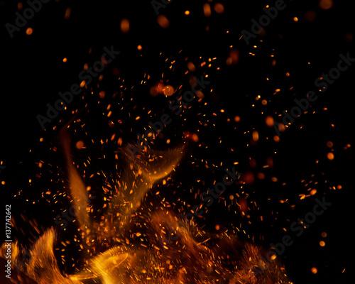 Fototapeta fire flames with sparks on a black background obraz