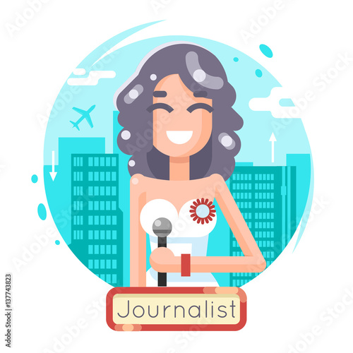 News Reporting Journalist Reporter Female Girl Character Mass Media Symbol On City Background Flat Design Template