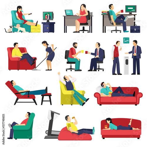 Obraz Lazy And Tired People Set - fototapety do salonu