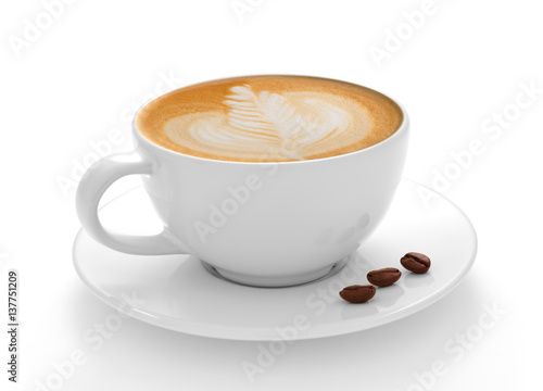 Foto auf AluDibond Kaffee Cup of coffee latte and coffee beans isolated on white background