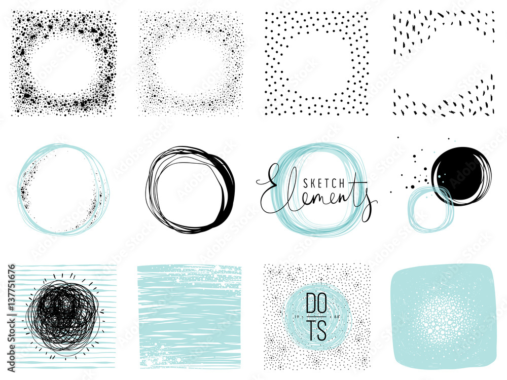 Fototapeta Set of sketch circles, frames and textures. Use for posters, prints, greeting and business cards, banners, icons, labels, badges and other graphic designs.
