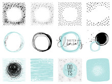 Set Of Sketch Circles, Frames And Textures. Use For Posters, Prints, Greeting And Business Cards, Banners, Icons, Labels, Badges And Other Graphic Designs.