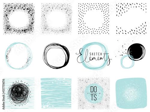 Valokuva  Set of sketch circles, frames and textures