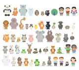 Fototapeta Fototapety na ścianę do pokoju dziecięcego - Big set of different animals. Zoo animals from different continents. A variety of fauna. Vector cartoon