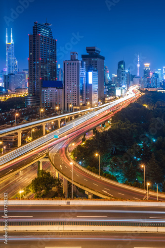 Fototapety, obrazy: urban traffic with cityscape in Shanghai,China.