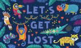 Ręcznie rysowane plakat z fajnymi zwierzętami kreskówek w dżungli