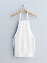 White Apron, Apron Mockup On Clothes Hander 3d Rendering